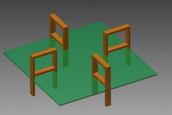 Четыре ноги устанавливаются по четырем сторонам от ствола дерева